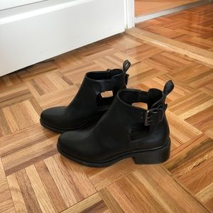 Black Smooth Leather Ankle Boots - worn once!